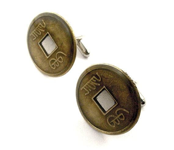 Medallion cufflinks chinese coin cufflinks feng shui good luck - Feng shui good luck coins ...