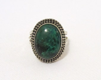 Vintage Sterling Silver Natural Chrysocolla Ring Size 8