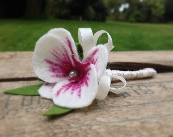 SALE ITEM - Handmade ivory and cerise felt orchid buttonhole