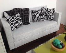"""Grey fabric modern doll sofa, dollhouse furniture, 1:6 scale, 10""""-12"""" dolls"""