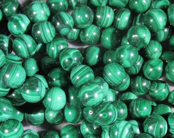 Natural Malachite Strand of 10 mm Grade A Beads - Reduced