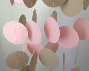Light Brown, Light Pink 12 ft Circle Paper Garland- Party Decorations, Birthday, Wedding, Bridal Shower, Baby Shower