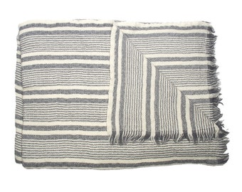 WOOLLEN THROW -  Grey and White stripes. Hand made in Kashmir, India