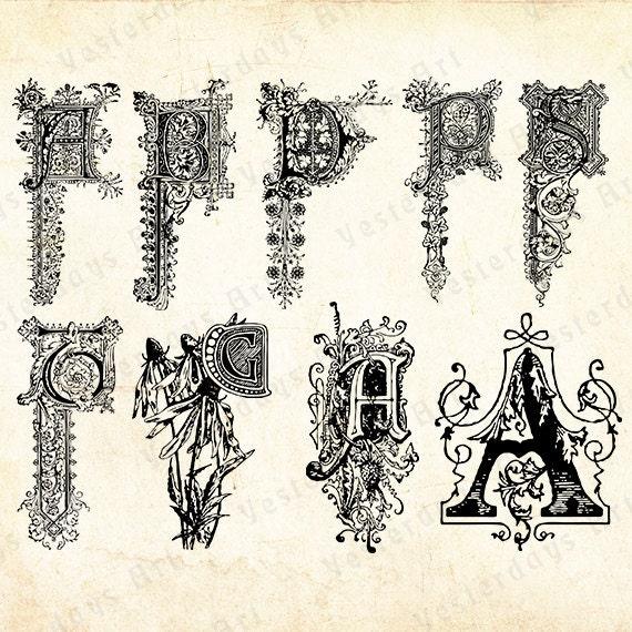 Items similar to Vintage letras antiguas imágenes digitales #13 ...