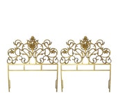 Gold Cast Iron Headboards, Twin Pair