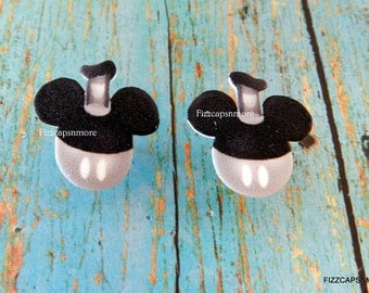 Steamboat Inspired Black White Mouse Head Ears Nickel Free Post Earrings