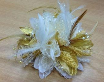 Cream and Gold Fascinator Black Headband Clip Comb Flower Corsage