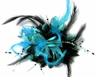 Black and Turquoise Fascinator Black Headband Clip Comb Flower Corsage