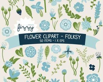 EPS: 50 x Flower Clipart in Folksy colour set - Digital files with Instant Download. CA0021