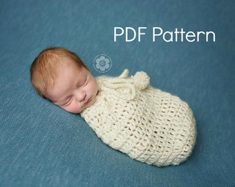 PDF Crochet Pattern Newborn Swaddle Sack