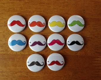 Mustache Buttons Pinback Button Set of 10, Funny Mustache, Beard, Mustache pattern, Cute Mustache Buttons