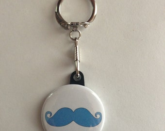 Mustache Keychain Handmade Keychain, Mustache. Geek Keychain, Nerd, Geekery, Movember, Mustash, Funny Mustache