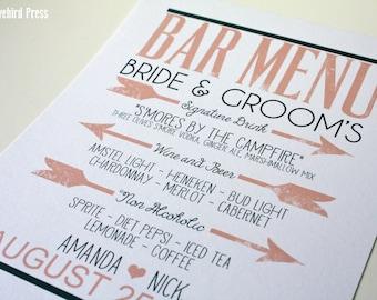 Bar Menu Wedding Sign - Printable Wedding Bar Menu Sign - Signature Drinks - Custom Color - PDF - DIY - AA4