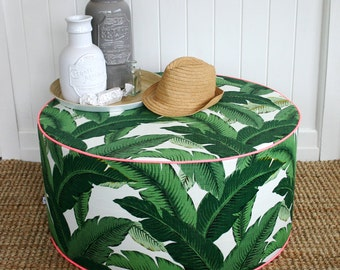 SquareFoxDesigns Green Palm outdoor pouf ottoman floor seat
