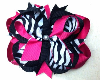 Layered/Stacked Pink/Zebra Boutique Style Bow/ Hot pink hair bows/ Hot Pink and Black hair bows/ Pink and Black layered hair bows/ Zebra bow
