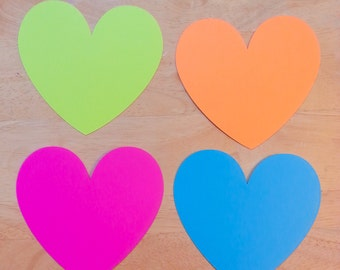 30 Large Hearts 5 x 4.25 inches- Variety of Colors Available