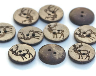 10 Coconut Shell Deer Buttons 18mm Brown Natural Wooden Reindeer Patterned Buttons - NW15