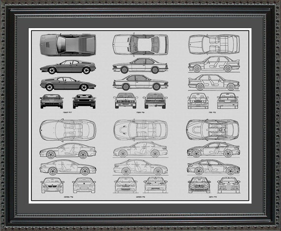 Bmw m series blueprint collection drawing art car auto gift like this item malvernweather Choice Image