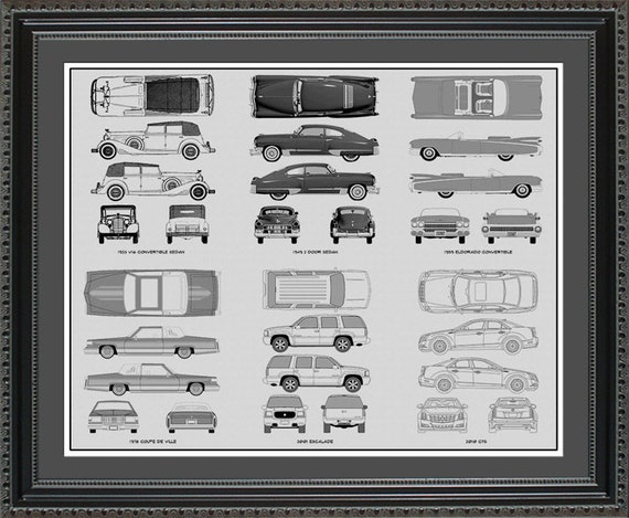 Cadillac blueprint collection drawing art car auto gift malvernweather Choice Image
