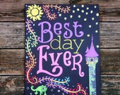 "Best Day Ever 16""x20"" Hand Painted Canvas -NOT a print- Rapunzel - Party, Nursery, Shower, Playroom, kids room decor"