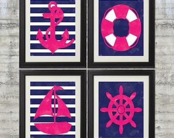 Nautical Nursery Art, Nautical Bathroom Art Print Set of 4 - Girls 8x10 Prints in Navy and Lipstick Pink