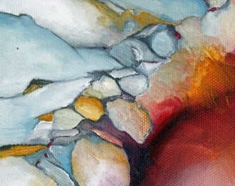 Oil Painting Giclee Print  rock formation series red blue