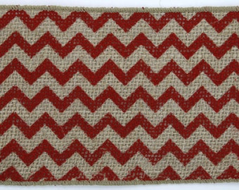 "4"" Red Chevron Burlap Ribbon - 10 Yards"