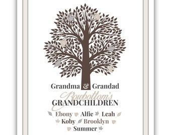Personalised Printable Artwork . Family Tree . Gift For Grandparents . Neutral Grey Tones . A4 Size . Christmas Gift .