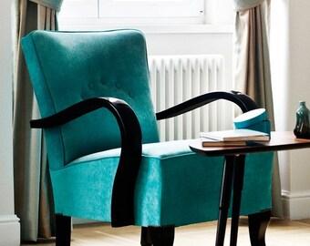 Restored turquoise art deco armchair