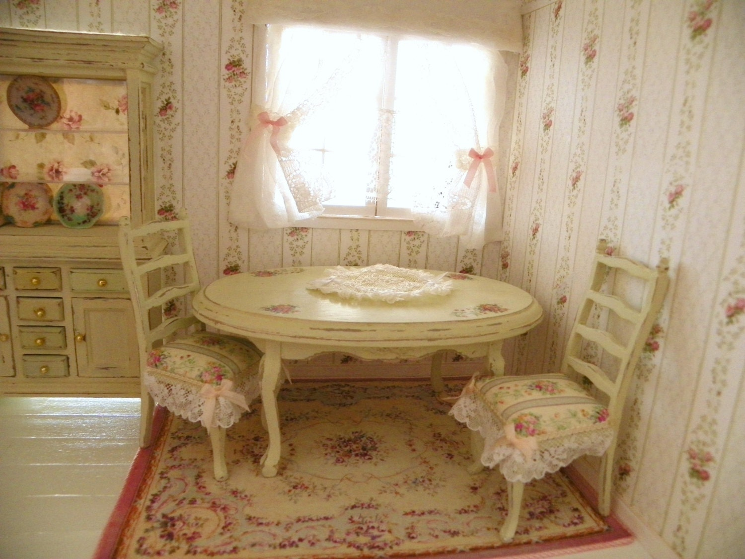 Dollhouse shabby chic dining room table and chairs 1 12 - Shabby chic dining table sets ...