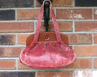 Vintage Pouch / Purse - Distressed Pouch - Red Pouch