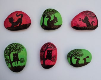 Painted Pebbles, Animals Fridge Magnets, Rock Art, Animals Painting on Stone, Painted Magnet, Cat, Owl, Rabbit, Squirrel Stone Painting, Art