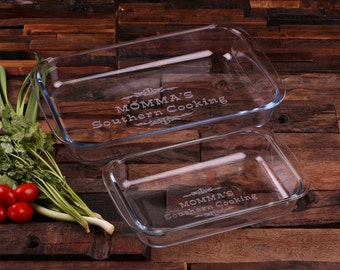 Set of 2 Personalized Etched 1 L + 2 L Casserole Baking Dish Wedding, Mother's Day, Grandma Christmas Gift (024579)