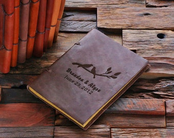 Personalized Monogrammed Engraved Wedding Notebook Leather Travel Diary Sketchbook Journal (024205)