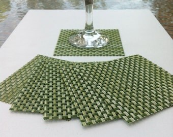 Set of Six Woven Vinyl Coasters in Leaf Green