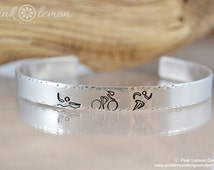 Triathlon - Swim Bike Run - Hand Stamped Cuff Bracelet - Personalized Jewelry - Half Tri - Full Tri - Ironman - 70.3 - Pink Lemon Design