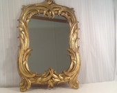 Vintage Mirror,Ornate Mirror,Syroco Wood,Gold Mirror,Decorative Mirror,Palm Leaf Mirror,Decor,Vintage Decor