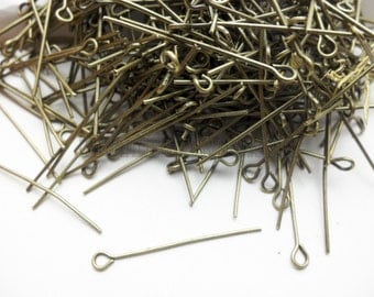 400 pcs 30mm nine word needle for jewelry making (antique brass finished) wa0339