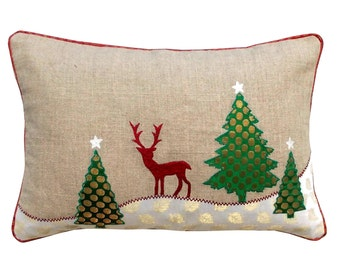 "Christmas linen pillow cover, christmas trees, reindeer, Indian brocade applique, embroidered pillow size 14""X 21"""