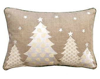 "Christmas linen pillow cover, christmas trees, Indian brocade applique, embroidered pillow size 14""X 21"""