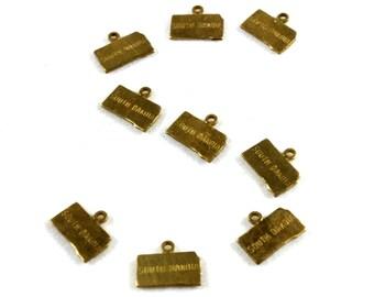 6x Brass Engraved South Dakota State Charms - M057-SD