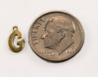 """5x Letter """"G"""" Brass Initial Charms - M071-G"""
