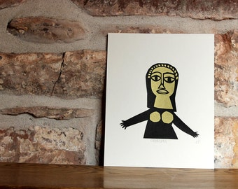 SALE Goddess Screen print in black and gold