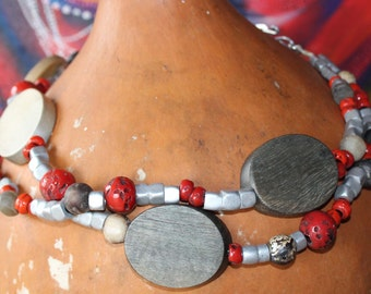 African Necklace out of coral, aluminium and wooden beads