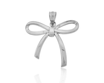 Sterling Silver Ribbon Bow Charm, Ribbon, Polished, Solid, Valentine's Day, Vibrant, simple, minimalism, everyday jewelry