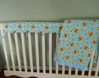 Winnie the Pooh Blanket set with crib rail