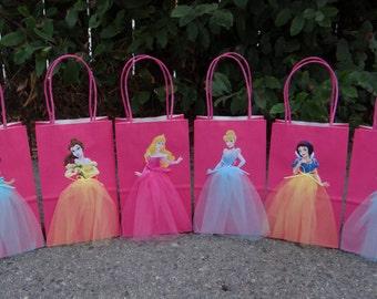 Disney Princesses 6 Birthday Party Favor Bags