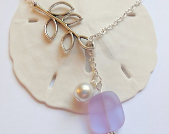Light Purple Sea Glass Necklace, Charm necklace, Pearl, Silver Branch, bridesmaid necklace, beach wedding.  FREE SHIPPING within the U.S.