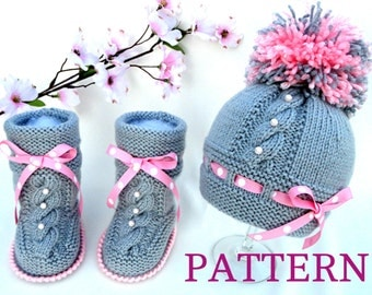 Knitting P A T T E R N Baby Set Infant PATTERN Newborn Baby Shoes Knitted Baby Hat  Baby Booties Baby Boy Baby Girl Pattern ( PDF file )