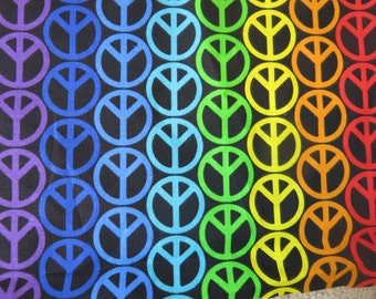"""1/2 yard of 100% cotton """"Peace sign"""" fabric"""